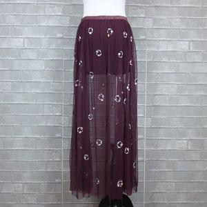 Free People Skirts - Free People Jeweled Tulle Sheer Mesh Maxi Skirt